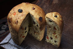 Panettone. Baked traditional Christmas fruit from different countries Stock Images