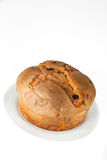 Panettone. (typical Italian sweet during Christmas) on white background Stock Photos