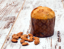 Panettone with almonds Stock Photos