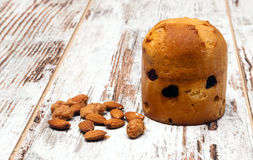 Panettone with almonds Royalty Free Stock Photo