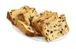 Panettone-Brot-Kuchen-Scheiben auf Platte Stockfotos