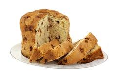 Panettone-Brot-Scheiben auf Platte Stockfotografie