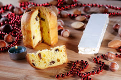 Panettone and candle Royalty Free Stock Images