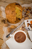 Panettone with chocolate Stock Images