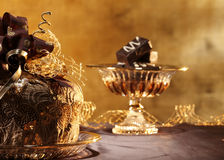 Panettone and chocolate Royalty Free Stock Images