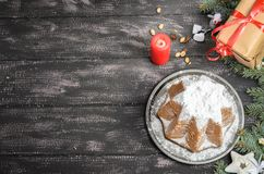 Panettone and christmas decoration on wooden table royalty free stock photography