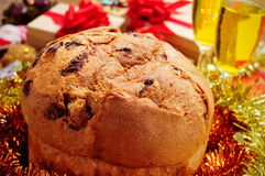 Panettone on a christmas table Stock Images