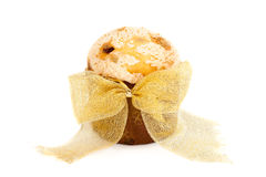Panettone Decorated With Golden Bow Stock Photo