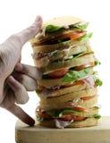 Panettone gastronomique géant comme un sandwich très énorme garni Photo libre de droits