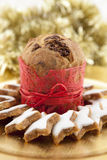 Panettone. A Panettone on a golden background with golden stalks Royalty Free Stock Photos