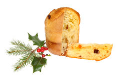 Panettone and holly Stock Photography