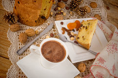 Panettone with hot chocolate dessert Royalty Free Stock Photography