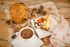 Panettone with hot chocolate still life Royalty Free Stock Images