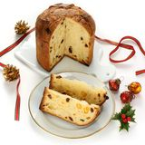Panettone, italian christmas bread Royalty Free Stock Photos