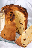 Panettone, italian Christmas cake and Spumante Stock Photos