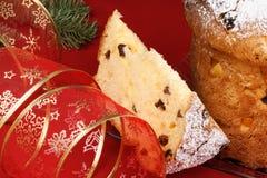 Panettone the italian Christmas fruit cake Stock Photos