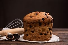 Panettone italian traditional christmas cake. Close up royalty free stock photography
