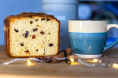 Panettone loaf with elements stock photos