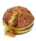 Panettone with meter, diet concept stock images