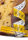 Panettone with meter, diet concept royalty free stock image