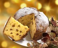 Panettone, famous Italian Christmas cake stock photos