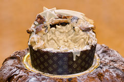 Panettone with nativity scene Stock Images