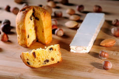 Panettone and nuts Royalty Free Stock Image