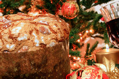 Panettone and ornaments Royalty Free Stock Images