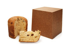 Panettone and package Royalty Free Stock Images