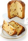 Panettone, pan italiano de la Navidad Fotos de archivo