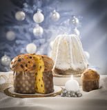 Panettone and pandoro cakes stock images