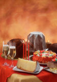 Panettone and pandoro on Christmas setting Stock Images