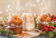 Panettone and pandoro traditional italian christmas cake. stock photos