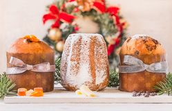 Panettone and pandoro traditional italian christmas cake. stock photo