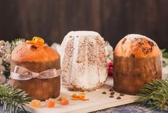 Panettone and pandoro traditional italian christmas cake. royalty free stock photography