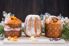 Panettone and pandoro traditional italian christmas cake. royalty free stock photo