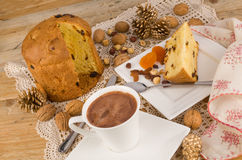 Panettone pastry with chocolate Stock Photos