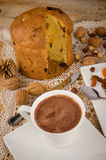 Panettone pastry with hot chocolate Royalty Free Stock Photos