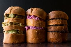 Panettone Sandwiches with Avocado, Red Cabbage Salad and Tapenade Olive Paste. Stock Photography