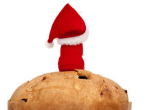 Panettone with Santa Claus on top Stock Images