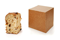 Panettone slice and package Royalty Free Stock Photo
