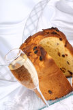 Panettone and spumante for Christmas Stock Photography