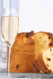 Panettone and spumante for Christmas Stock Photos