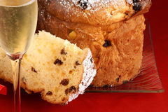 Panettone and Spumante for Christmas Stock Images