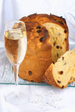 Panettone and Spumante for Christmas Stock Photo