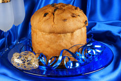 Panettone and spumante for an Italian Christmas Stock Photo