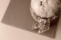 Panettone sur le ton de vintage de sépia d'en haut Photographie stock libre de droits