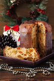 Panettone - sweet bread loaf traditional for Christmas and  New Royalty Free Stock Image