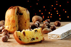Panettone and torrone Stock Images