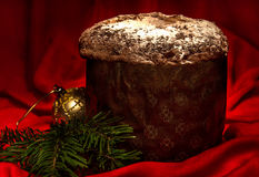 Panettone, traditional homemade sweet bread for Christmas and New Year. Royalty Free Stock Photo